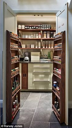 Smarten up your kitchen storage with a fancy pantry A walk-in pantry by Harvey Jones… - Own Kitchen Pantry Kitchen Larder, Larder Cupboard, Kitchen Pantry Design, Modern Kitchen Design, Kitchen Decor, Hidden Pantry, Walk In Pantry, Fancy Kitchens, Home Kitchens