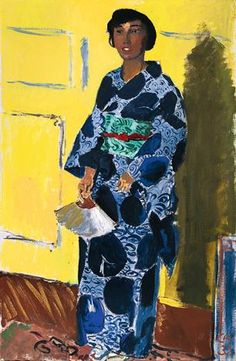 Cuno Amiet, Japonaise, venue le visiter dans son atelier d'Oschwand, un atelier installé dans une grange proche de la demeure familiale