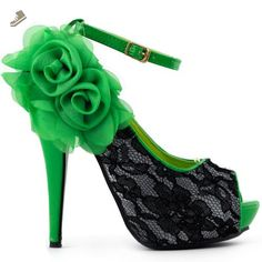 Show Story Sexy Green Black Lace Peep Toe Flowers Stiletto High Heel Platform Shoes,LF30408GR39,8US,Green - Show story pumps for women (*Amazon Partner-Link)