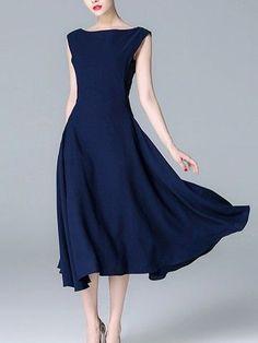 26b5bb990f5 Navy Blue Solid Color Cinched Waist Midi Dress