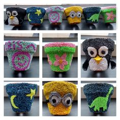Bloempotjes gedecoreerd met foam klei Crochet Hats, Clay, Silk, Craft, Knitting Hats, Clays