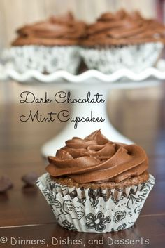 Dark Chocolate Mint Cupcakes from @Dinners, Dishes, and Desserts