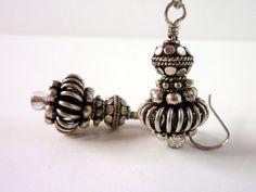 Silver Beaded Earrings Silver Bali Style by Elegencebyelaine, $18.00