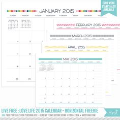 Live Free : Love Life 2015 Calendars – FREE Printables! | MissTiina.com {Blog}
