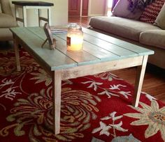 Antiqued cottage style coffee table
