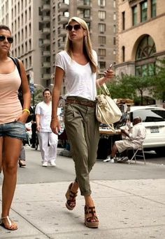 Easy white t-shirt with olive pant. I really like the proportions on both. Not a wedge girl though...