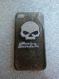 Harley Davidson Bling Skull Smokey Black by LavenderLollypops, $15.00