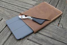 grams28 - iPad Mini Handmade Leather Case iPad Mini sleeve with Pocket iPad Mini wallet  (italian oil pull-up leather). $70.00, via Etsy.