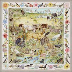 90 x 90 cm scarf Hermès | La Vie Sauvage du Texas La Vie Sauvage du Texas Silk twill scarf, hand-rolled (90 cm x 90 cm) Color : pearl grey/white/pink Ref. : H002751S 58