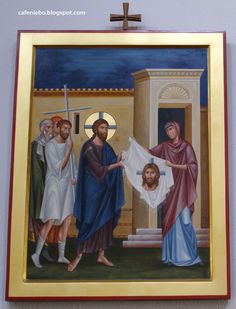 Jesus and the Shawl of Veronica - an icon from Dominican church in Rzeszów, Poland