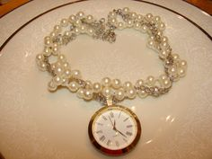 Pearl Watchface Necklace  Steampunk Accessory by WhatKnotsofWhimsy, $12.00