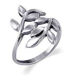 Amazon.com: Sterling Silver 23mm Wide Cute Ivy Leaf Design Polished Finish 2mm Wide Band Ring Size 4: Jewelry