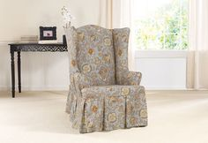 Sure Fit Slipcovers Tennyson By Waverly™ Wing Chair Slipcover   Wing Chair  (TOPAZ)