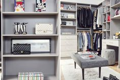 Loving how organized this closet it. The gray and white color theme is really beautiful and modern.