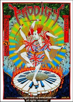1998 The Prodigy - Detroit Silkscreen Concert Poster by Emek Tour Posters, Band Posters, Music Posters, Iconic Album Covers, Note Doodles, New Poster, Concert Posters, Poster Making, Rock Music