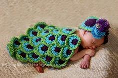crochet newborn photo props | Newborn Baby Photography Prop Crochet Peacock Feather Back and Head ...