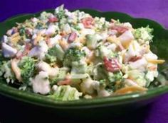 Broccoli Cauiflower Salad: cauliflower, broccoli, onion, bacon, shredded cheese