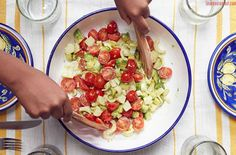 Well! I think I've officially found my new favorite summer salad. I mean, just look: This lovely creation is a truffled avocado, tomato, and hearts of palm...