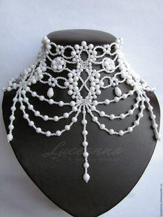 """Купить Белое свадебное колье """"Милен Фармер"""" - белый, белоснежный, свадьба, невеста, образ невесты"""