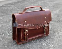 Leather Briefcase Messenger Bag Business Laptop Bag