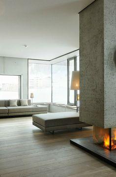 Freestanding fireplace at the Wiesergut Hotel//