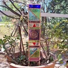 Natural Energy MultiColor Stained Glass Garden Stake by Orlantha, $47.00