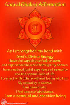 The second Chakra, sacral also known as the naval Chakra, is located between the base of your spine and your navel. The color is orange for creativity and feelings.