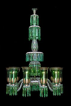 Fine enamelled overlay 10-light chandelier in clear, white and green glass with gilt enrichments and the vase form corona  hung with prisms above 2 further tiers by F.C. Osler, England