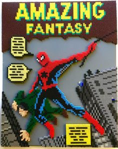 3D Amazing Fantasy Spider-Man Perler Bead Pixel Pop Art