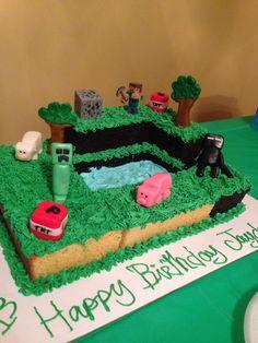 Minecraft cake was so easy to do... Fondant figures