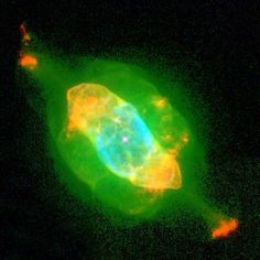 The Saturn Nebula (also known as NGC 7009 or Caldwell 55) is a planetary nebula in the constellation Aquarius. It was discovered by William Herschel on September 7, 1782, using a telescope of his own design in the garden at his home in Datchet, England, and was one of his earliest discoveries in his sky survey. The nebula was originally a low-mass star that transformed into a bright white dwarf star of apparent magnitude 11.5. http://en.wikipedia.org/wiki/Saturn_Nebula