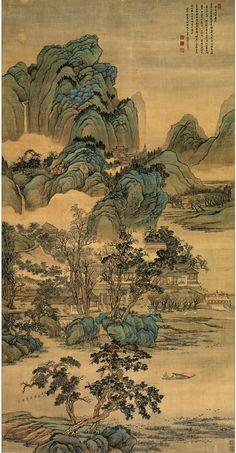 huang, he landscape Asian Landscape, Landscape Art, Landscape Paintings, Chinese Landscape Painting, Japanese Artwork, Japanese Painting, Chinese Drawings, Korean Painting, Art Asiatique