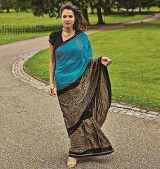 Blue & Brown Color Half Crepe & Half Chiffon Party Wear Sarees : Prunit Collection  YF-37798