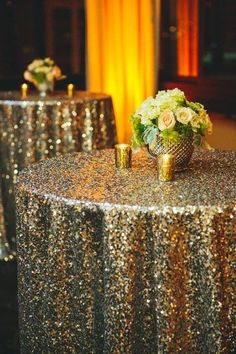 Sit-down dinner or no, a sequin tablecloth adds instant glittering drama to a dining table, refreshments table, or even a small cart in the corner.