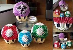 Mushroom Kingdom - 3D Origami by ~o0DreamMyst0o