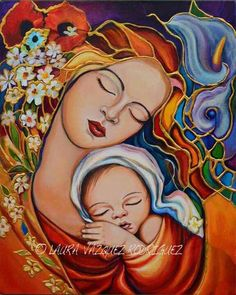Artwork by Laura V. Mother And Child Painting, Painting For Kids, Catholic Art, Religious Art, Mother And Child Reunion, Mother Art, Mary And Jesus, Madonna And Child, Mexican Art
