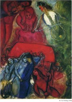 The Wedding - Marc Chagall Completion Date: 1944 Place of Creation: United States Style: Naïve Art (Primitivism) Genre: genre painting Technique: oil Material: canvas Dimensions: 99 x 74 cm Gallery: Private Collection