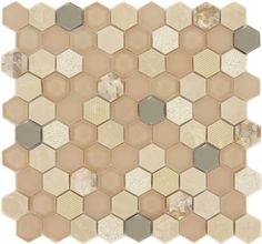 Blush Hexagon Beige Glossy & Frosted Glass & Stone Tile