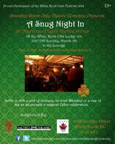 A Snug Night In begins Sun, 9 Mar 2014 in #White Rock at White Rock Elks Lodge Community, Performing Arts, Entertainment, Festival, Cultural