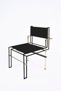 CASBAH, Functionalist Inspired Brass / Vachetta Tubular Chair by Nomade Atelier 3