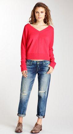 @Michael Stars  Cashmere Blend Dolman V-Neck Top [ Find. Shop. Discover. www.specialteesboutique.com ]