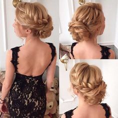 Braids into Messy Bun Updo for Bridesmaids or Prom