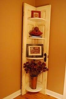 DIY shelf from an old door. Great idea!