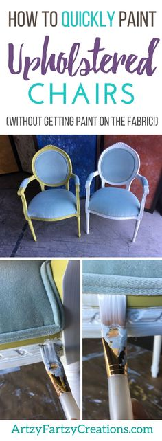 A quick and easy way to paint upholstered chairs without removing the upholstery. How to Paint Upholstered Chair Frames without Getting Paint on the Fabric Cushions   Furniture Painting Tips by Cheryl Phan