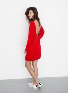 Red dress + tennis shoes