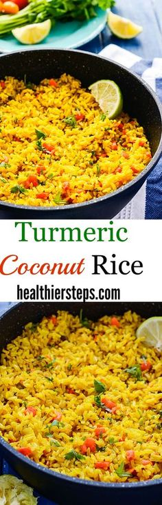 Turmeric Coconut Rice Brown rice simmered in seasoned coconut milk with onion, garlic, and thyme.