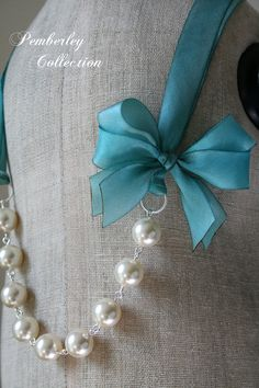 Pearl and Ribbon Necklace Swarovski by PemberleyCollection on Etsy, $29.00