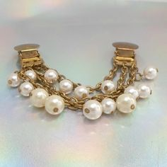 Vintage sweater guard clip chain faux pearls 3 strand goldtone 60s fab #unbranded