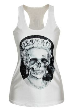 True Great British spirit meets casual denim styles and Rock'n'Roll flavor – we love! White slim cut cotton stretch tank top with round neck, striking queen skull print and black oval background embellishment. #Clothing #Fashion
