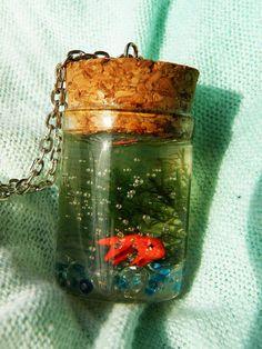 Goldfish in Glass bottle Pendant